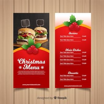 Plantilla de menú navideño con fotografía