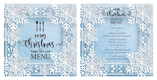 Plantilla de menú navideño con hermoso tema de invierno en estilo de corte de papel