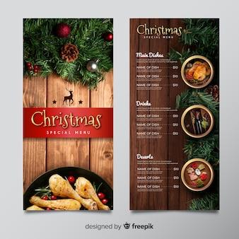 Plantilla de menú navideño con imagen