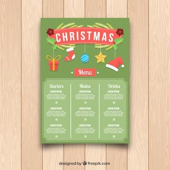 Plantilla de menú navideño