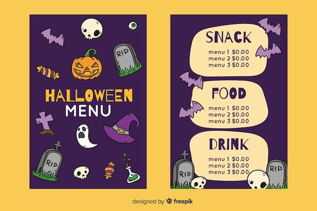 Plantilla de menú de noche de halloween dibujado a mano