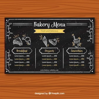 Plantilla de menú de panadería en estilo de tiza