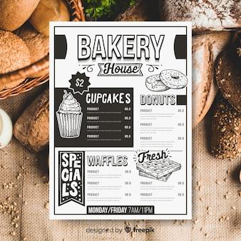 Plantilla de menú de panadería retro