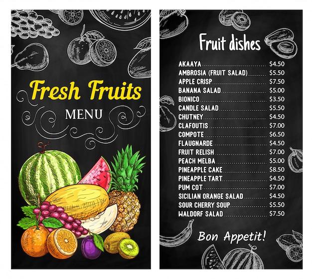 Plantilla de menú de pizarra de frutas frescas