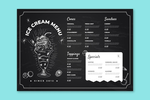 Plantilla de menú de pizarra de helado dibujado a mano grabado