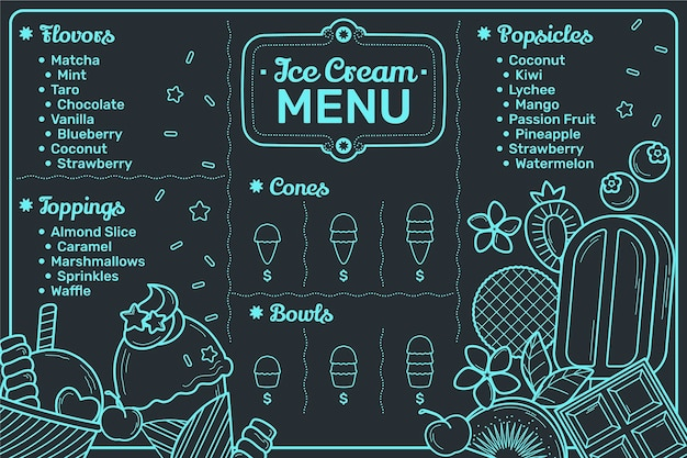 Plantilla de menú de pizarra de helado dibujado a mano
