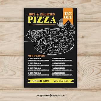 Plantilla de menú de pizza con dibujos