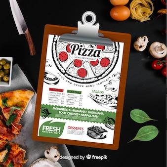 Plantilla de menú de pizza en estilo vintage