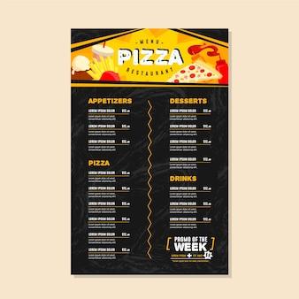 Plantilla de menú de pizza negra