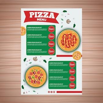 Plantilla de menú para pizzería