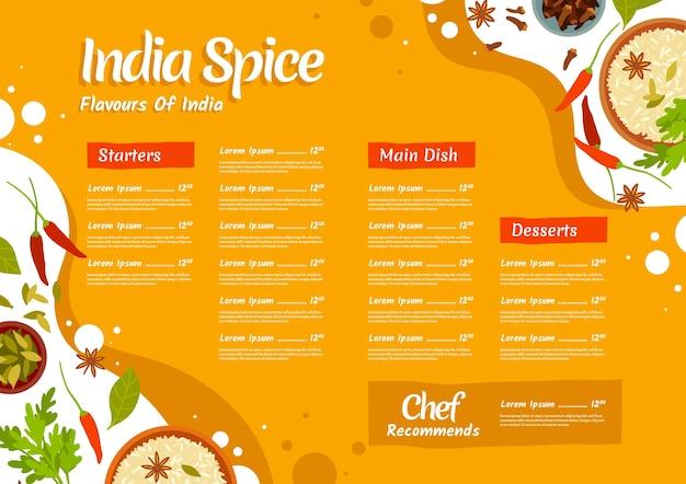 Plantilla de menú plano indio