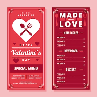 Plantilla de menú plano de san valentín