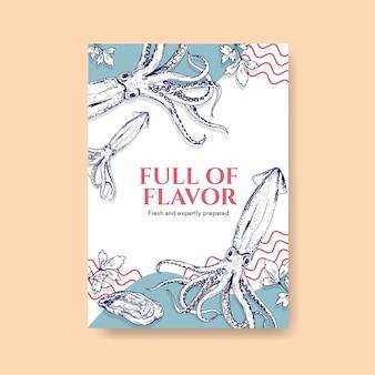 Plantilla de menú de póster con diseño de concepto de mariscos para ilustración de publicidad y marketing