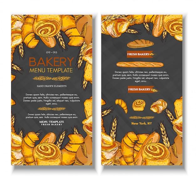 Plantilla de menú con productos de panadería de pan fresco.