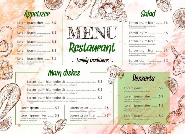 Plantilla de menú de restaurante en acuarela