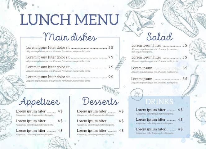 Plantilla de menú de restaurante de almuerzo dibujado a mano