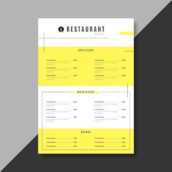 Plantilla de menú de restaurante amarillo