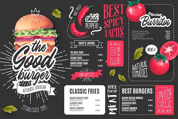 Plantilla de menú de restaurante americano con ilustraciones