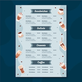 Plantilla de menú de restaurante con café