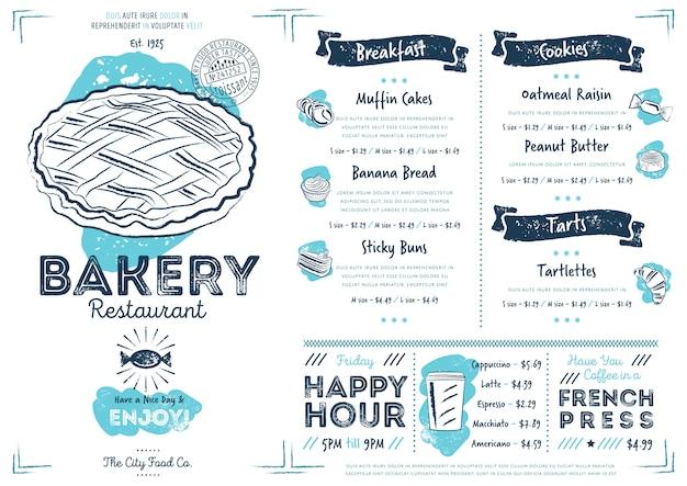 Plantilla de menú de restaurante cafetería panadería