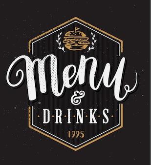 Plantilla menú restaurante con caligrafía dibujada mano pluma pincel vector