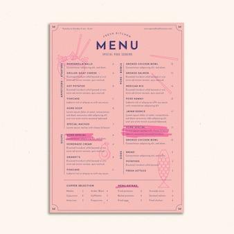 Plantilla de menú de restaurante de cocina fresca