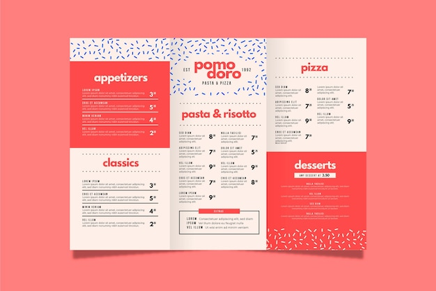 Plantilla de menú de restaurante colorido