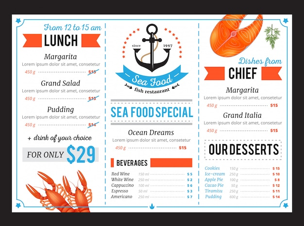 Plantilla de menú de restaurante de comida de mar clásica con platos especiales del chef y oferta de almuerzo diario de presupuesto