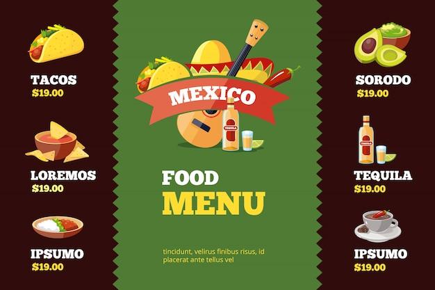 Plantilla de menú de restaurante con comida mexicana.
