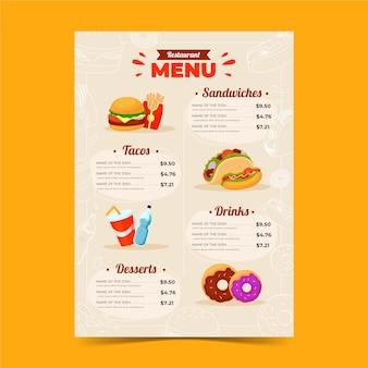 Plantilla de menú de restaurante de comida rápida