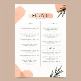 Plantilla de menú de restaurante de comida sana acuarela