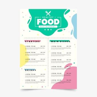 Plantilla de menú de restaurante de comida sana colorida