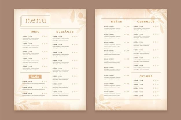 Plantilla de menú de restaurante de comida sana vintage