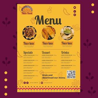 Plantilla de menú de restaurante de comida de taco