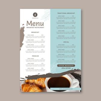 Plantilla de menú de restaurante de desayuno
