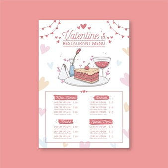 Plantilla de menú de restaurante del día de san valentín