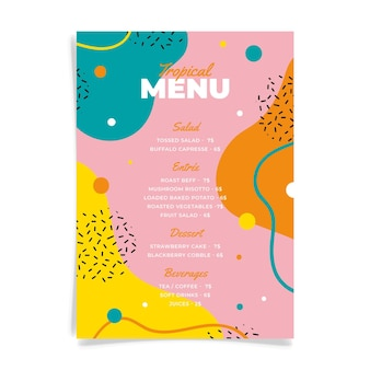 Plantilla de menú de restaurante dibujado a mano