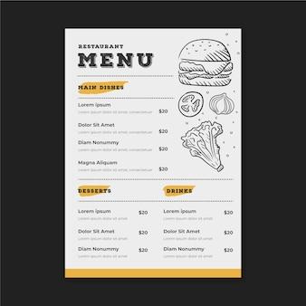 Plantilla de menú de restaurante con dibujos