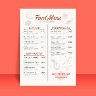 Plantilla de menú de restaurante digital con ilustraciones