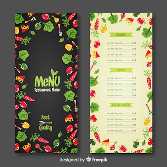 Plantilla de menú de restaurante en diseño plano
