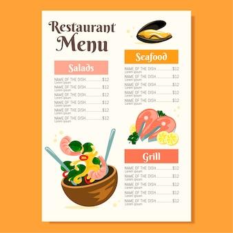 Plantilla de menú de restaurante de diseño plano