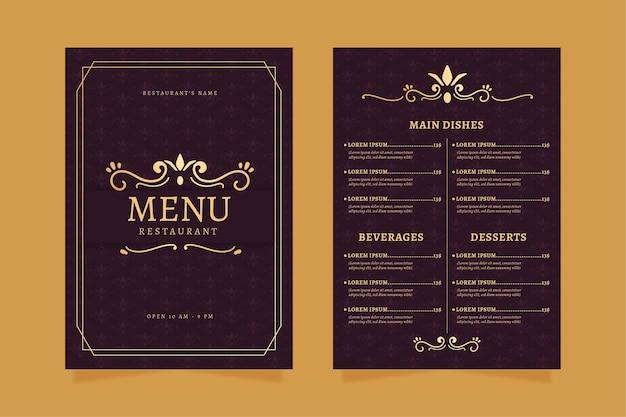 Plantilla de menú de restaurante dorado con violeta