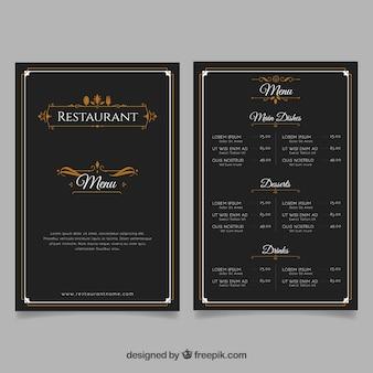 Plantilla de menú de restaurante elegante