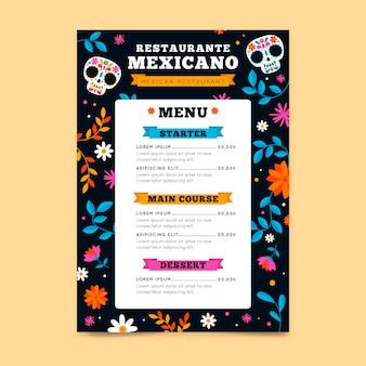 Plantilla de menú de restaurante con elementos mexicanos