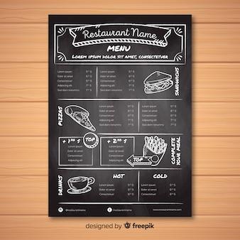 Plantilla de menú de restaurante con estilo de pizarra