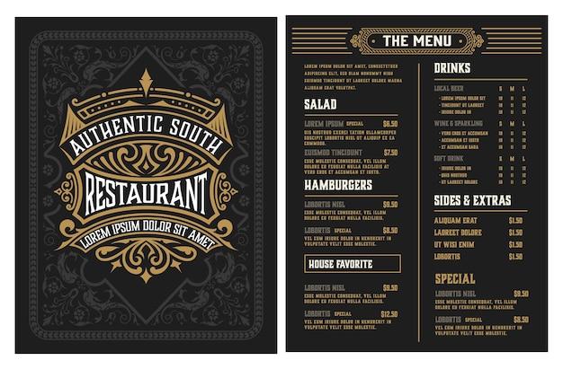 Plantilla de menú de restaurante. estilo vintage. en capas