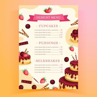 Plantilla de menú de restaurante para fiesta de cumpleaños con pastel