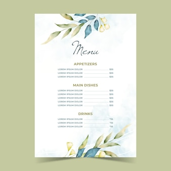 Plantilla de menú de restaurante de flores de acuarela