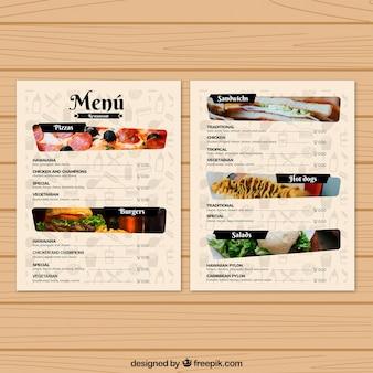 Plantilla de menú de restaurante con fotos