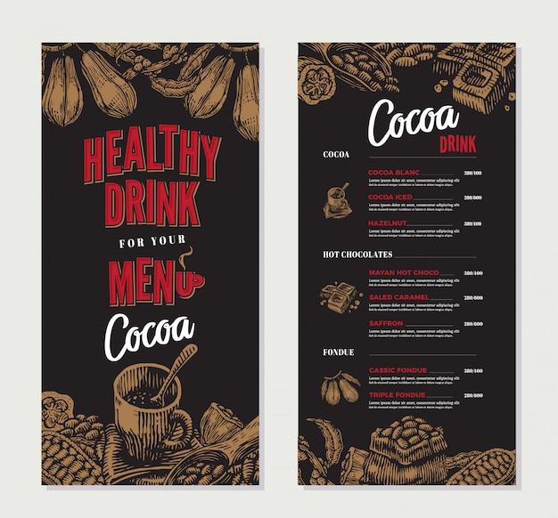 Plantilla de menú de restaurante con grabado de cacao
